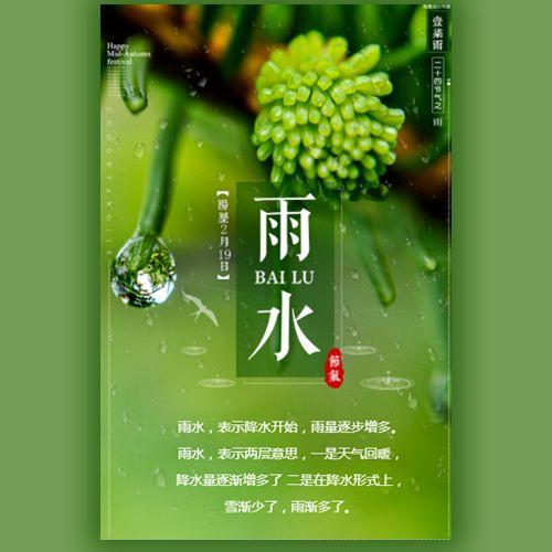 清新24节气之雨水自然绿色