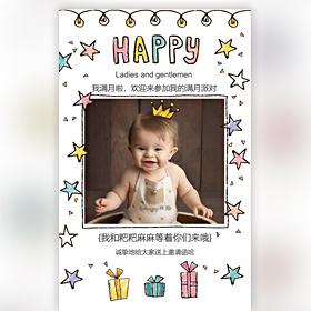 手绘宝宝百日宴满月宴周岁生日派对生日宴邀请函相册