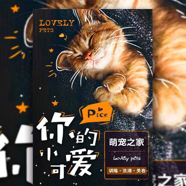 小清新手绘风宠物店促销时尚宣传