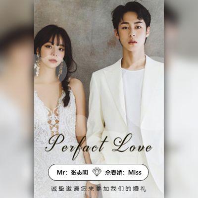 韩式清新唯美婚礼邀请函时尚浪漫结婚请帖