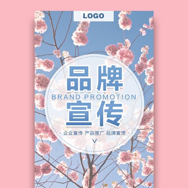 高端时尚清新唯美粉蓝花朵企业宣传产品宣传品牌推广